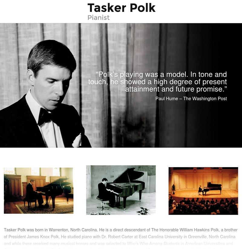 Tasker Polk   Musician Website Design